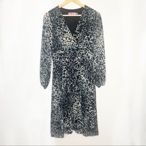 Sheer fit and flare leopard print midi dress